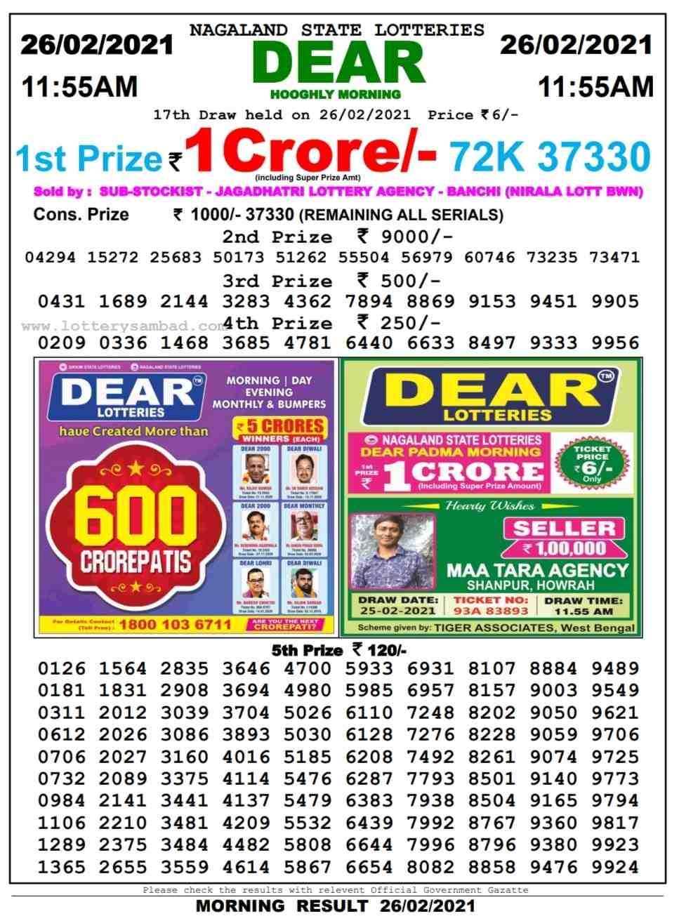 Lottery sambad 11.55 AM Result on 26.2.2021