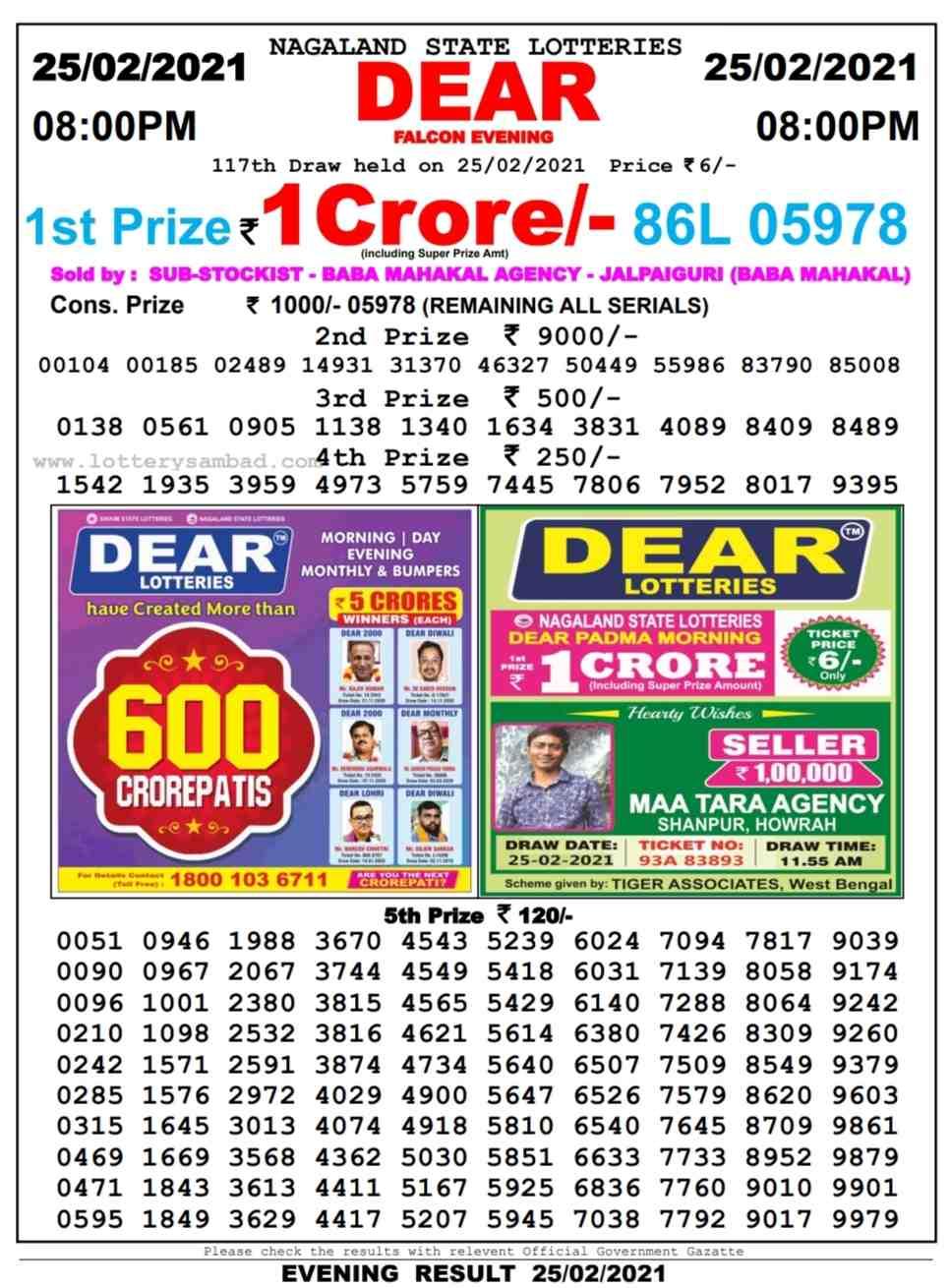 Nagaland Lottery sambad 8 PM Result on 25.2.2021