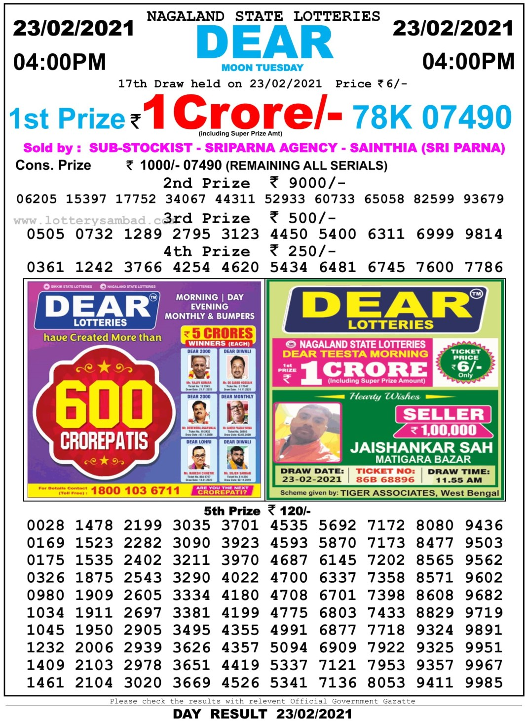Nagaland State Lottery Result 4 PM 23.2.2021