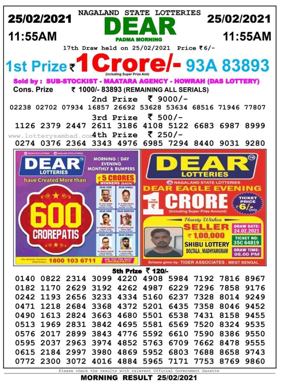 Sikkim Lottery Sambad 11.55 AM Result on 25.2.2021